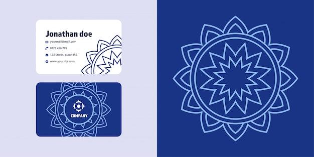 Mandala zeichnung und visitenkartensatz. monoline logo marke