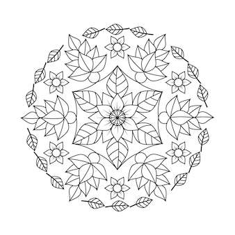 Mandalablumen- und -blattmalbuch für die entspannenden erwachsenen.