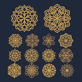 Mandalablumenmusterillustration auf satzvektor