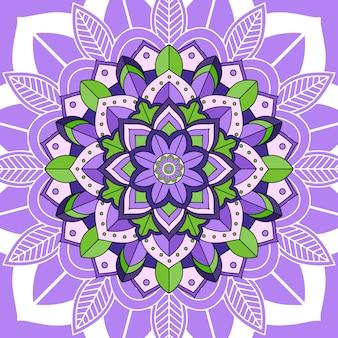 Mandalaentwurf auf purpurrotem hintergrund