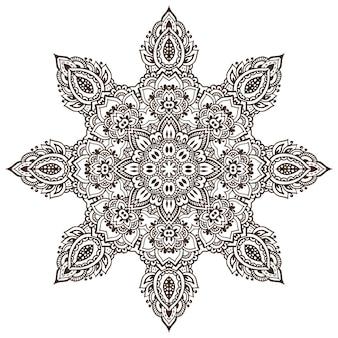 Mandalamuster von henna-blumenelementen basierend auf traditionellen asiatischen ornamenten.
