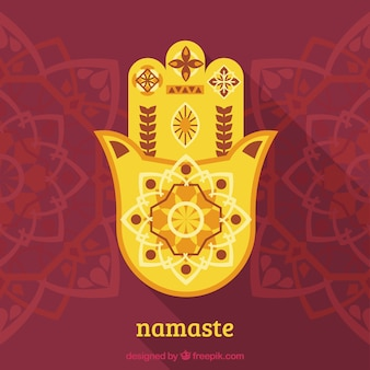 Mandalas hintergrund mit der hand der fatima