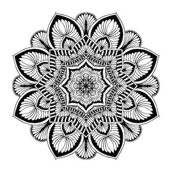 Mandalas malbuch, blütenform, orientalische therapie, yoga logos vektor.