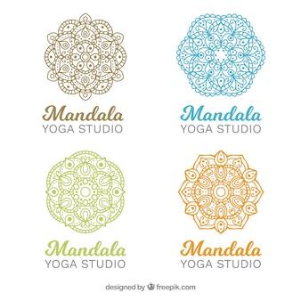 Mandalas yoga logos gesetzt