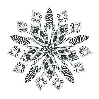Mandalavektor in der blumenart für malbuchseiten. ornamentmuster für tattoo-design