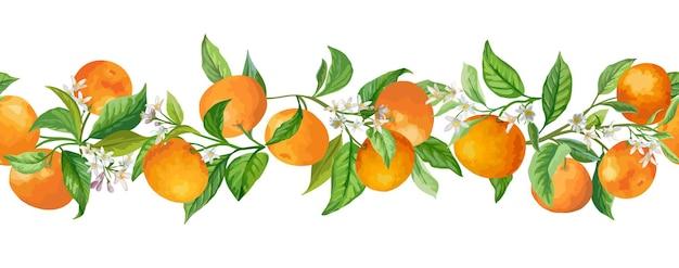 Mandarine girlande verzweigt sich vektor-illustration. vintage früchte, blumen und blätter grün handgezeichnet im aquarell-stil für design, hintergrund, blumeneinband, hochzeitseinladung, geburtstagsfeier