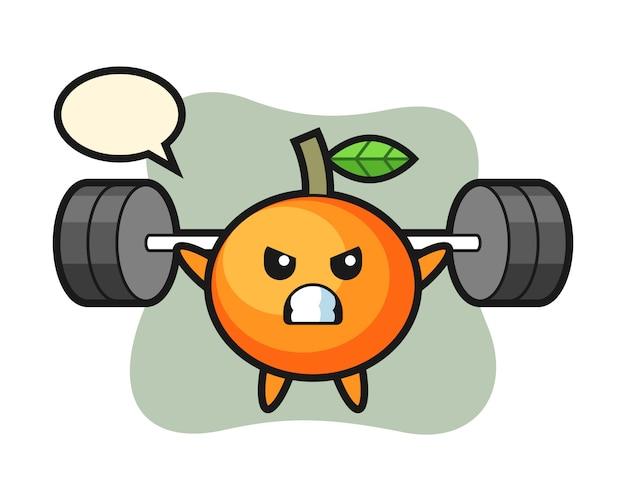 Mandarine maskottchen cartoon mit einer langhantel, niedlichen stil, aufkleber, logo-element