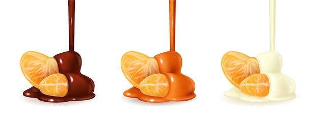 Mandarinenscheiben in gegossener geschmolzener schokoladenglasur.