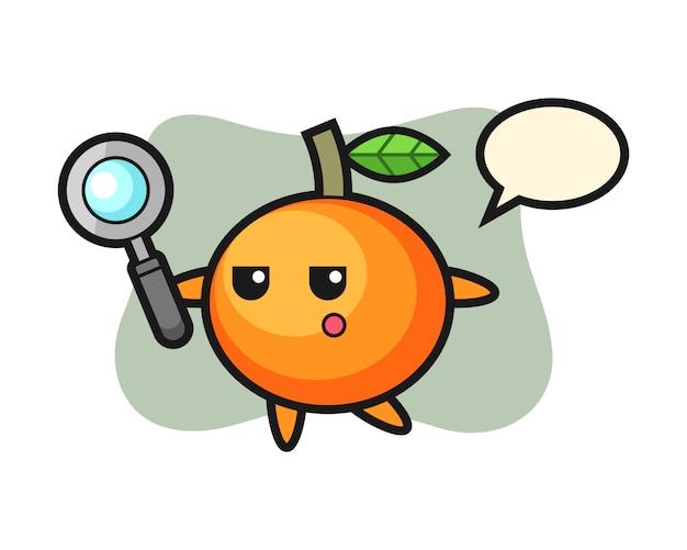 Mandarinorange-zeichentrickfigur, die mit einer lupe, niedlichem stil, aufkleber, logoelement sucht