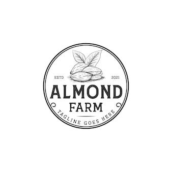 Mandel-logo-nüsse mit vintage-retro-rustikalem stil für landwirt, bauernhof