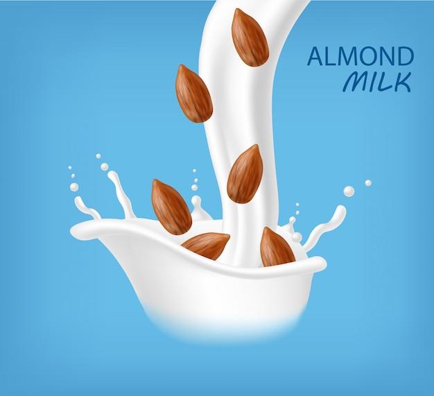 Mandelmilch realistisch, bio-milch, neues produkt, frische milch, spritzmilch