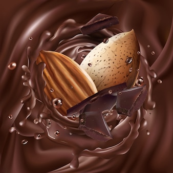 Mandeln mit schokoladenstücken in flüssiger schokolade.