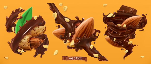 Mandelnüsse und schokoladenspritzer. 3d realistisch