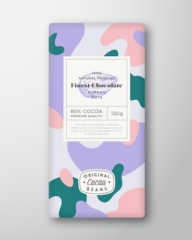 Mandelschokolade etikett abstrakte formen vektor-verpackungs-design-layout mit realistischen schatten moderne ...