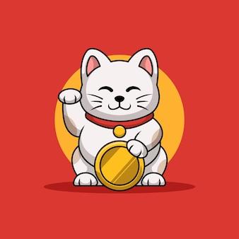 Maneki neko coin kreatives cartoon-maskottchen-logo-design