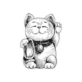 Maneki neko. japan-glückskatze mit erhobener pfote. vintage-vektor-schraffur