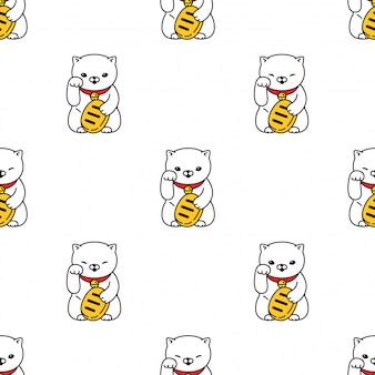 Maneki neko kätzchen des nahtlosen musters der glücklichen katze
