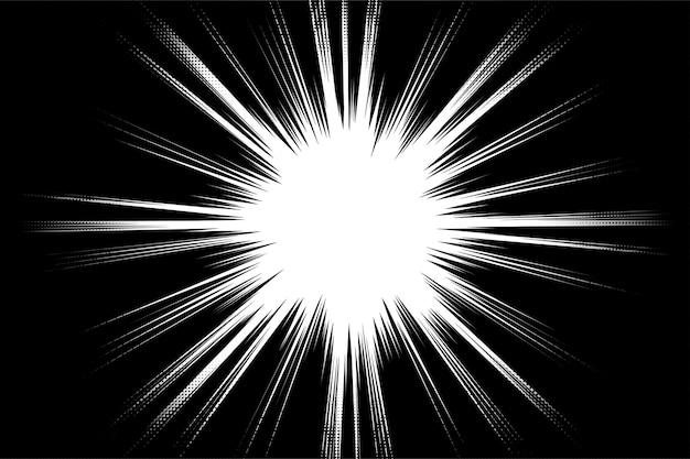 Manga radialgeschwindigkeitslinien auf schwarzem hintergrund