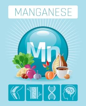 Mangan mn mineral vitamin ergänzung symbole. medizinische infografiken plakatschablone des symbols der gesunden ernährung des essens und des getränks 3d. flat benefit design