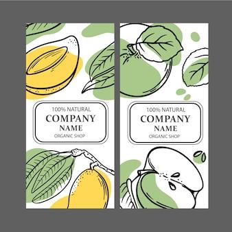 Mango-apfel-etiketten
