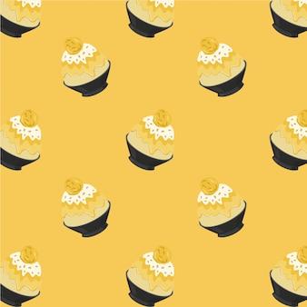 Mango-bingsu-karikatur-muster auf gelbem hintergrund