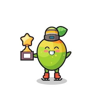 Mango-cartoon als eislaufspieler halten siegertrophäe, niedliches design für t-shirt, aufkleber, logo-element