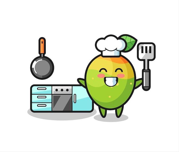 Mango-charakterillustration als koch kocht, süßes stildesign für t-shirt, aufkleber, logo-element