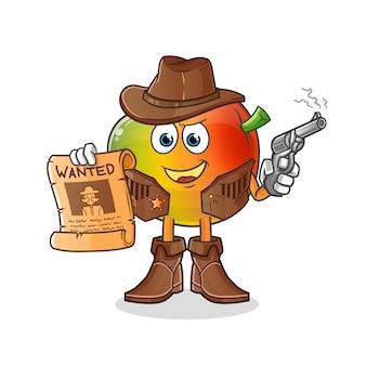 Mango cowboy hält pistole und wollte plakatillustration. charakter