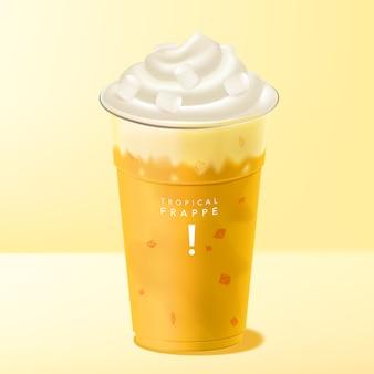 Mango frappe oder smoothie-getränk mit eiscreme und marshmallow-belag