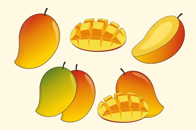 Mango-frucht-set