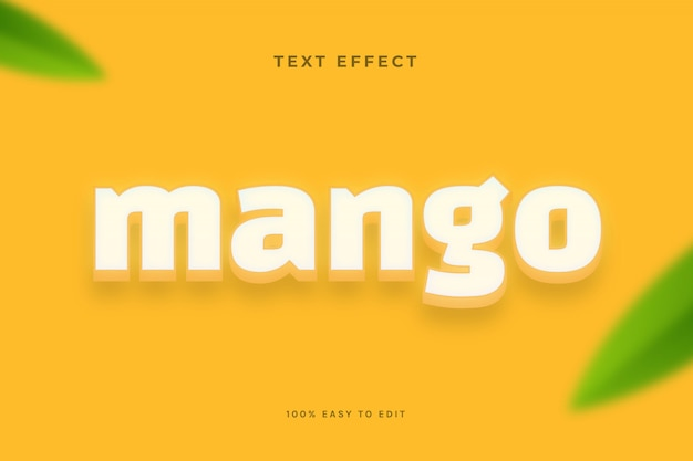 Mango gelb weißer texteffekt