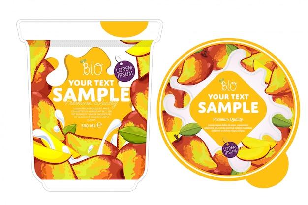 Mango-joghurt-verpackungsvorlage.