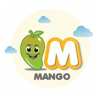 Mango-maskottchen mit buchstaben m