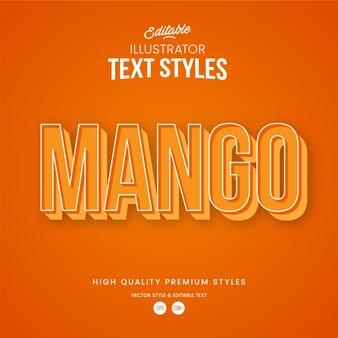 Mango modern abstract text effect bearbeitbarer grafikstil