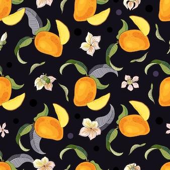 Mango. nahtloses muster mit gelben und roten tropischen früchten und stücken auf schwarzem hintergrund. helle sommerillustration.
