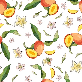 Mango. nahtloses muster mit gelben und roten tropischen früchten und stücken auf weißem hintergrund. helle sommerillustration.
