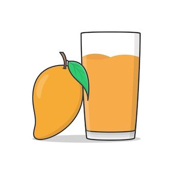 Mango-saft mit mango-symbol-illustration