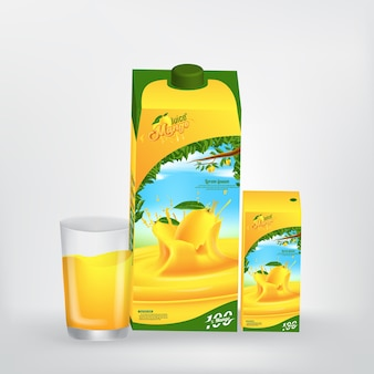 Mango-saft-produkt-verpackungs-vektor-konzept-design
