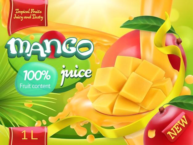 Mango saft. süße tropische früchte. realistisches verpackungsdesign