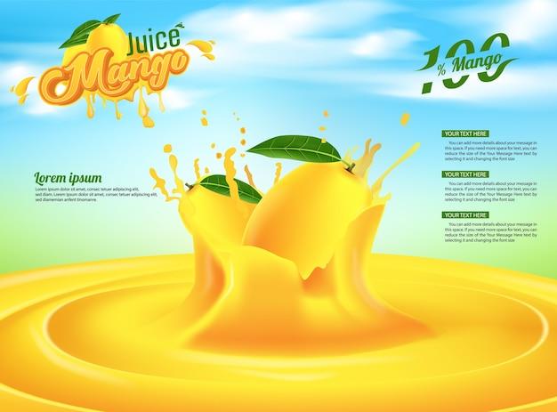 Mango-saft-werbungs-fahnen-anzeigen-schablonen-design
