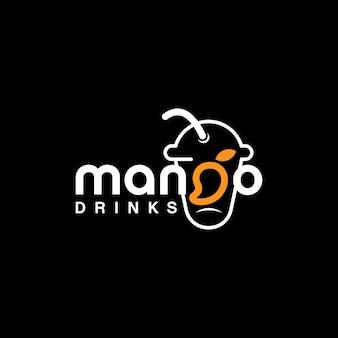 Mango text logo frisches saftgetränk und kulinarische vektorvorlage