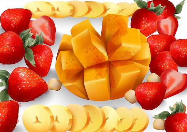 Mango und erdbeere. tropische platte mit exotischen früchten. frische saftige kompositionen