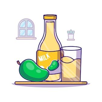 Mango und milchflasche für weltmilch-tag-cartoon-illustration