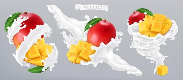 Mango und milchspritzer, joghurt. 3d realistische vektorillustration