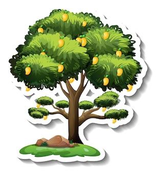 Mangobaum-aufkleber auf weißem hintergrund