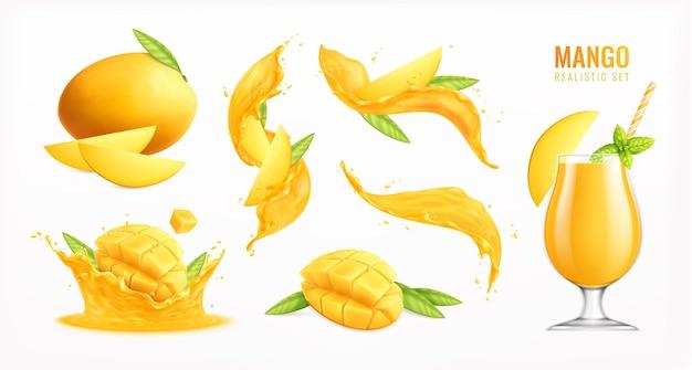 Mangofrucht realistischer satz mit frischem saft lokalisierte illustration