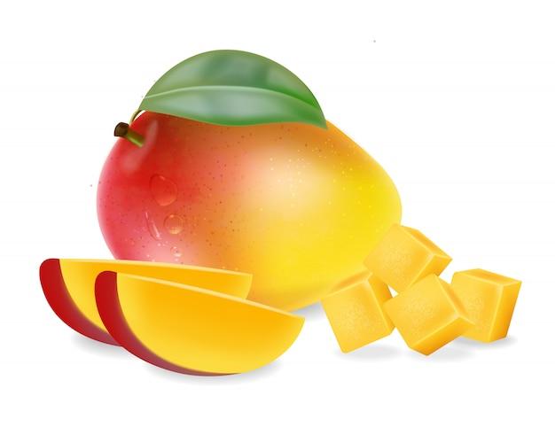 Mangofrucht und scheiben
