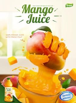 Mangosaft-anzeigen mit flüssiger hand, die früchte aus einem glasbecher in 3d-darstellung greift
