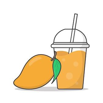 Mangosaft oder milchshake im plastikbecher zum mitnehmen