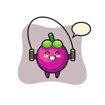 Mangostan-charakter-cartoon mit springseil, süßes design für t-shirt, aufkleber, logo-element